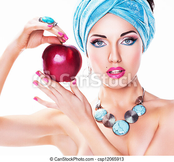 Portrait of Attractive Young Woman with Red Apple - csp12065913