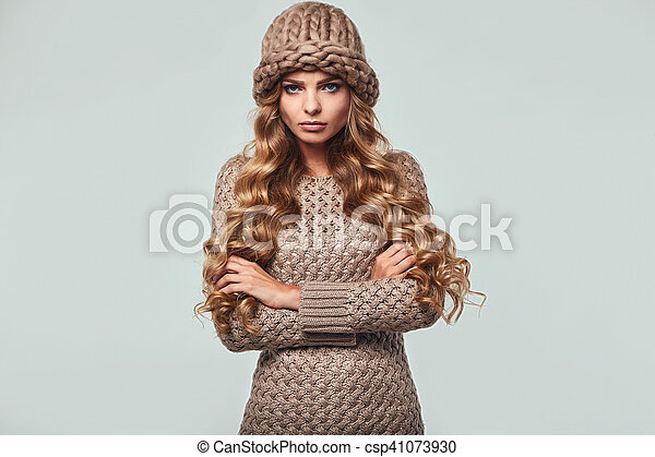 Portrait of beautiful angry blond woman - csp41073930