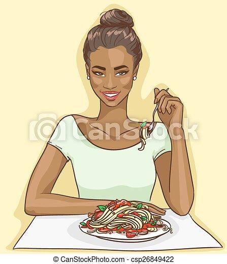 Portrait of beautiful black woman - csp26849422