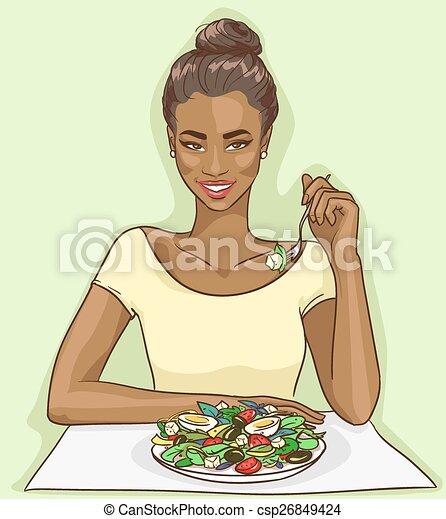 Portrait of beautiful black woman - csp26849424