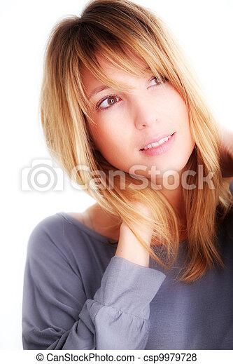 Portrait of beautiful blond woman - csp9979728