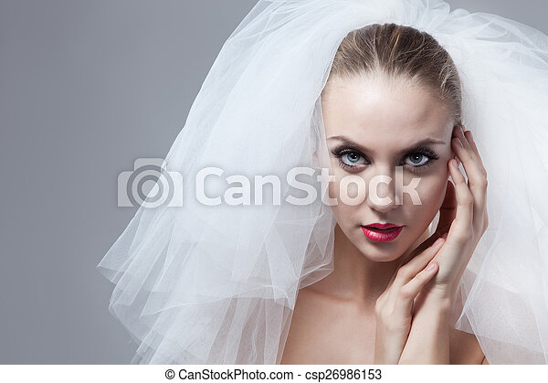 Portrait of beautiful bride - csp26986153