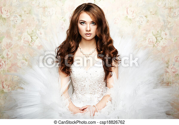 Portrait of beautiful bride. Wedding photo - csp18826762