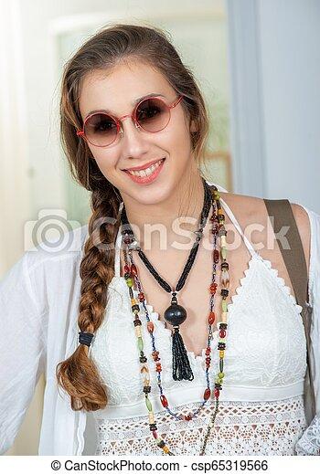 portrait of beautiful hippie woman - csp65319566
