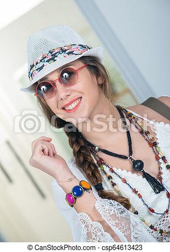 portrait of beautiful hippie woman - csp64613423