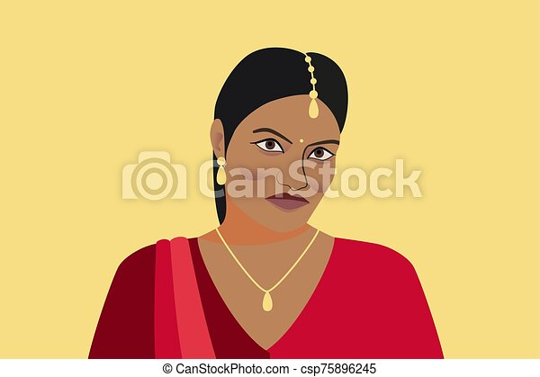 Portrait of beautiful indian woman. A young Hindu girl in traditional clothes and with golden jewelry. Woman in red sari and tika, teak in her hair. Isolated silhouette on a yellow background - csp75896245