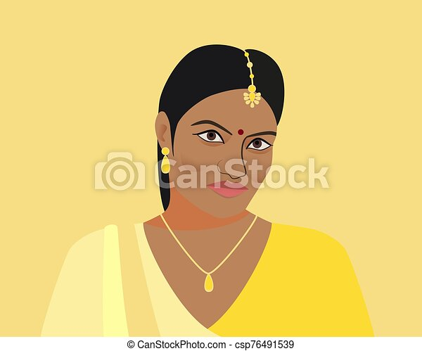 Portrait of beautiful indian woman. A young Hindu girl in traditional clothes and with golden jewelry. Woman in yellow sari and tika, teak in her hair. Isolated silhouette on yellow background. - csp76491539