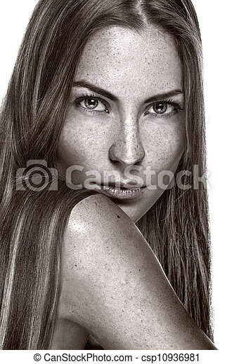 Portrait of beautiful sensual woman with freckles - csp10936981