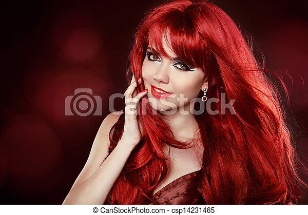 Portrait of Beautiful  With Healthy Long Red Hair and Makeup. Wavy Hair. Hairstyle. Make-up. Happy smiling woman. Pretty. - csp14231465