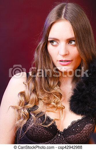 1f6468708 Portrait of beautiful woman wearing sensual lingerie. Feminity sexy ...