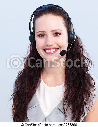 Portrait of beautiful woman working in a call center - csp2755866