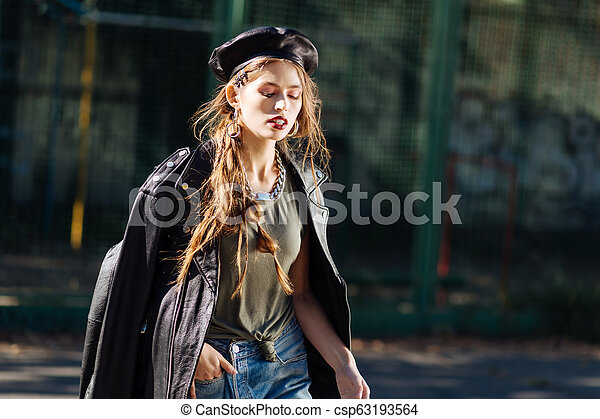 3b69a9625cb1d4 Portrait Of Beautiful Young Promising Model Wearing Black Leather Beret