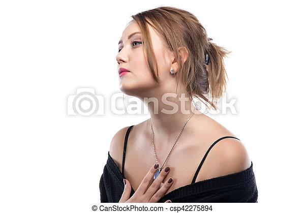 Portrait of blond woman with bare shoulders - csp42275894