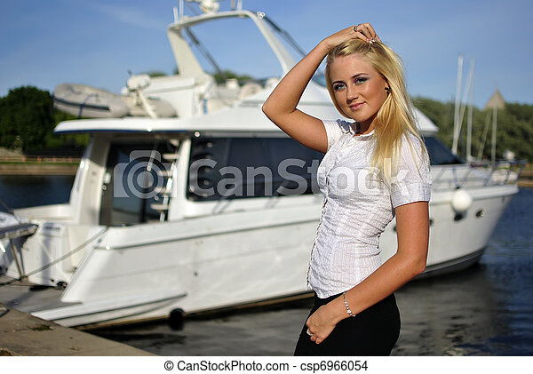 Blonde girl on boat