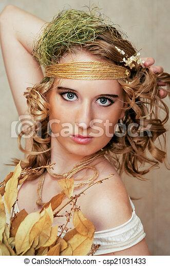 Portrait of blonde woman - csp21031433