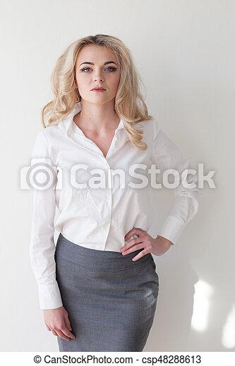 Portrait of business woman in business suit - csp48288613