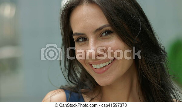 Portrait of business woman smiling outdoor - csp41597370
