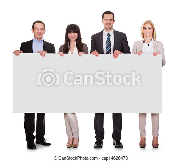 Portrait Of Businesspeople Group Holding Placard - csp14626473