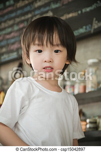 portrait of cute asian boy - csp15042897