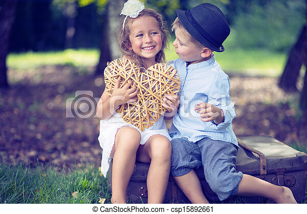 portrait of cute couple of small children stock photo - Small Children Images