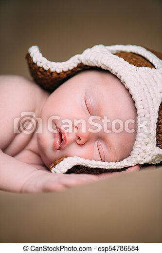 portrait of cute newborn - csp54786584