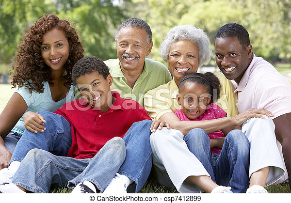 Portrait Of Extended Family Group In Park - csp7412899