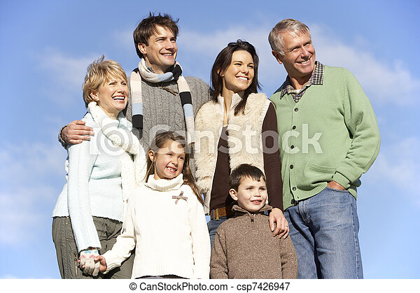 Portrait Of Family In The Park - csp7426947