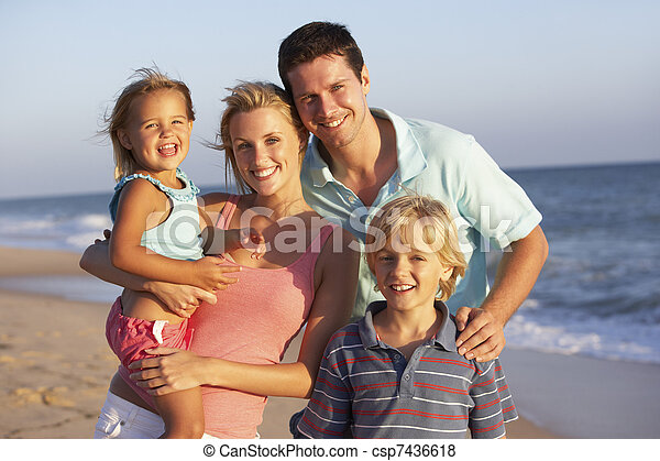 Portrait Of Family On Beach Holiday - csp7436618