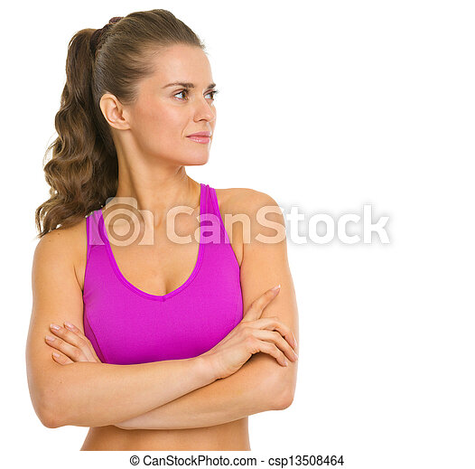 Portrait of fitness young woman looking on copy space - csp13508464