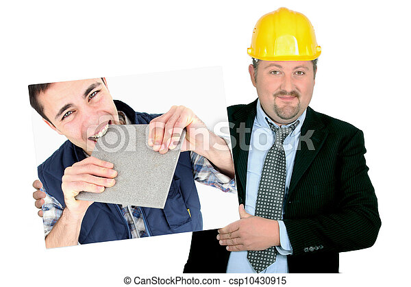 portrait of foreman holding picture of young tiler - csp10430915