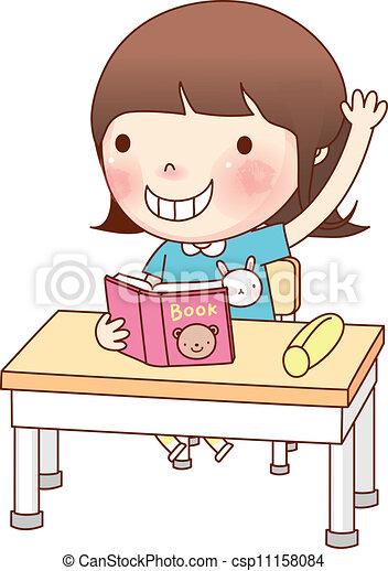 Portrait Of Girl Studying