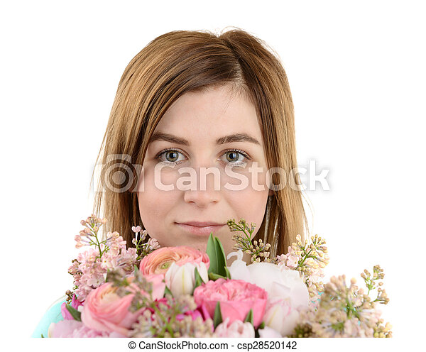 Portrait of girl with flowers - csp28520142