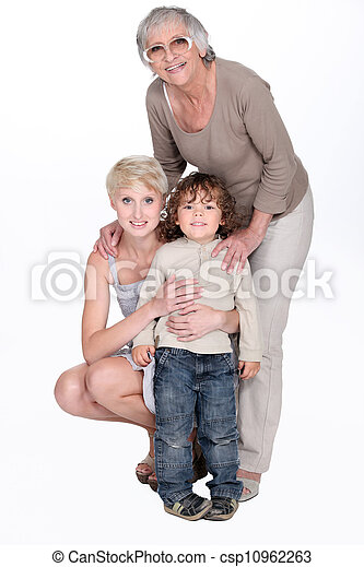 portrait of grandmother with daughter and grandchild - csp10962263
