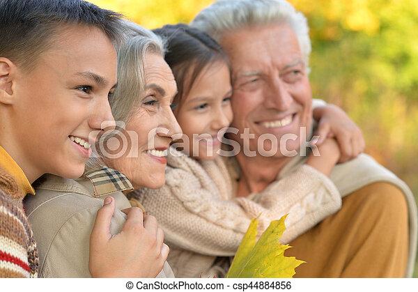 portrait of grandparents with grandchildren - csp44884856