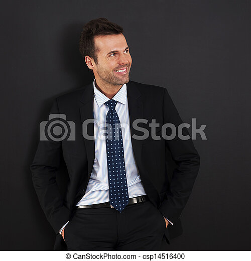 Portrait of handsome and smiling businessman  - csp14516400