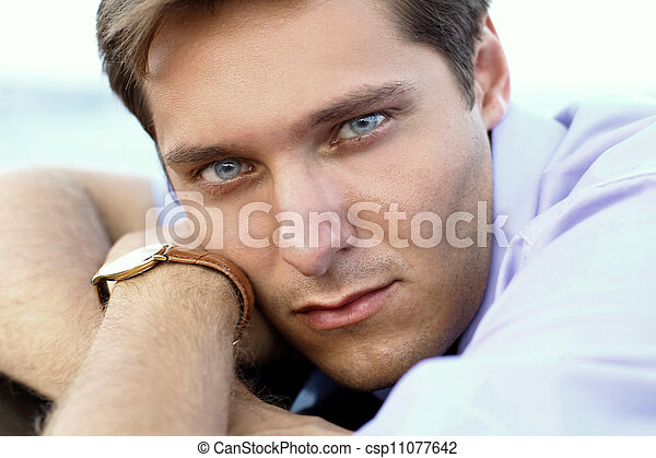 Portrait of handsome man, close up of young businessman, outdoors  - csp11077642