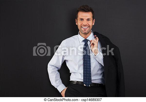 Portrait of handsome smiling businessman  - csp14689307