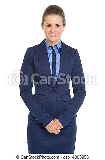 Portrait of happy business woman - csp14005956