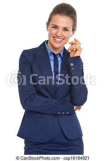 Portrait of happy business woman - csp16184921