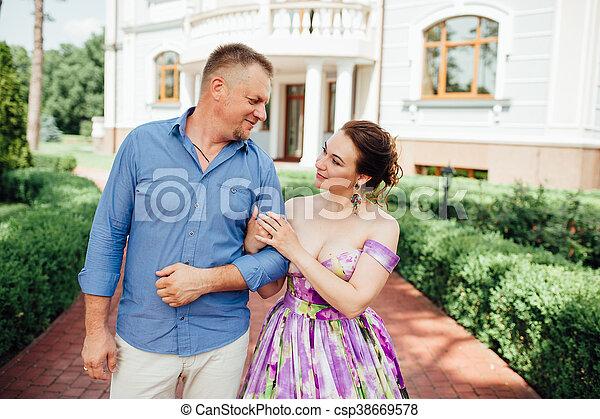 Portrait of Happy Family In Park - outdoor shot - csp38669578