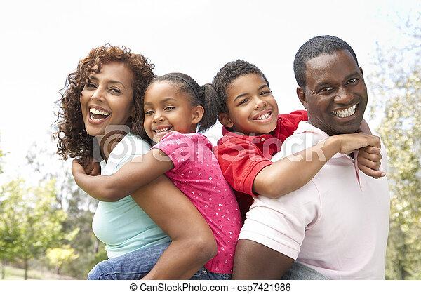 Portrait of Happy Family In Park - csp7421986