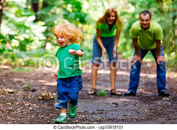 Portrait of Happy Family In Park - csp10918101