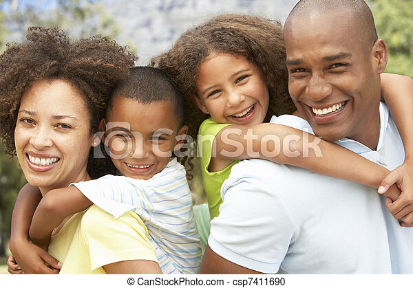 Portrait of Happy Family In Park - csp7411690
