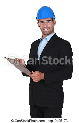 portrait of happy foreman and clipboard - csp10495173