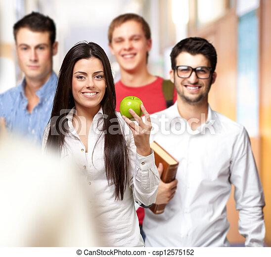 portrait of happy group students  - csp12575152