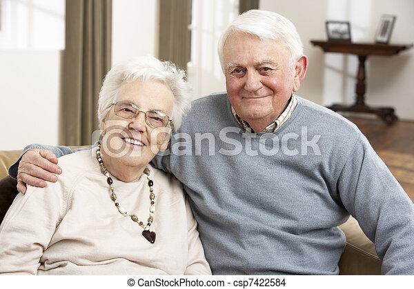 Portrait Of Happy Senior Couple At Home - csp7422584