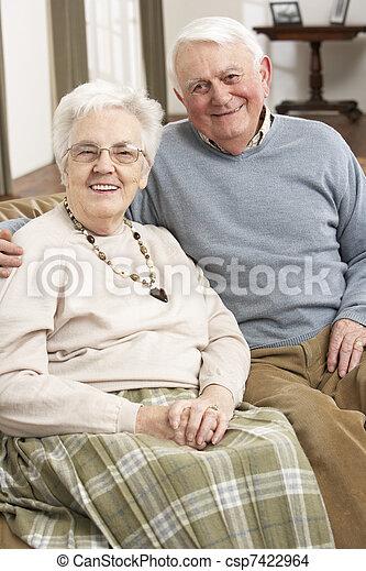 Portrait Of Happy Senior Couple At Home - csp7422964