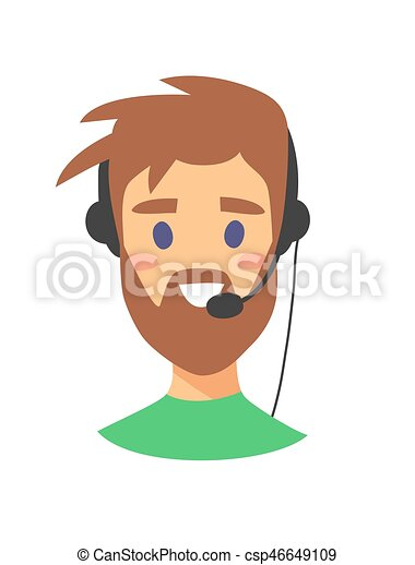 Portrait of happy smiling female customer support phone operator. callcenter worker with headset. Cartoon vector illustration man agent - csp46649109