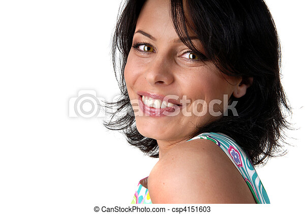 portrait of happy smiling woman on white - csp4151603