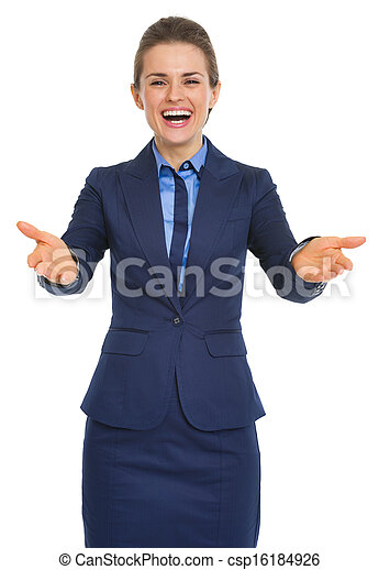 Portrait of happy to see you business woman - csp16184926
